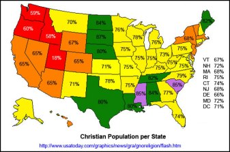 christian religion population by state percentage map