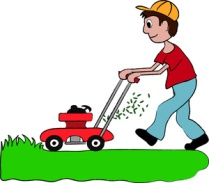 Clip art illustration of a boy mowing the lawn.